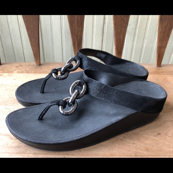 f48d3011591e75 Fitflop Shoes - Fitflop Black Superchain Leather Thong Sandals